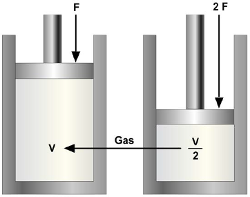 Gas compressed to half its original size by a doubled force