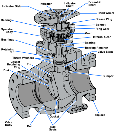 Typical ball-stop, swing-check valve